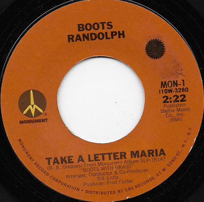 TAKE A LETTER MARIA BOOTS RANDOLPH REISSUE MONUMENT Northern