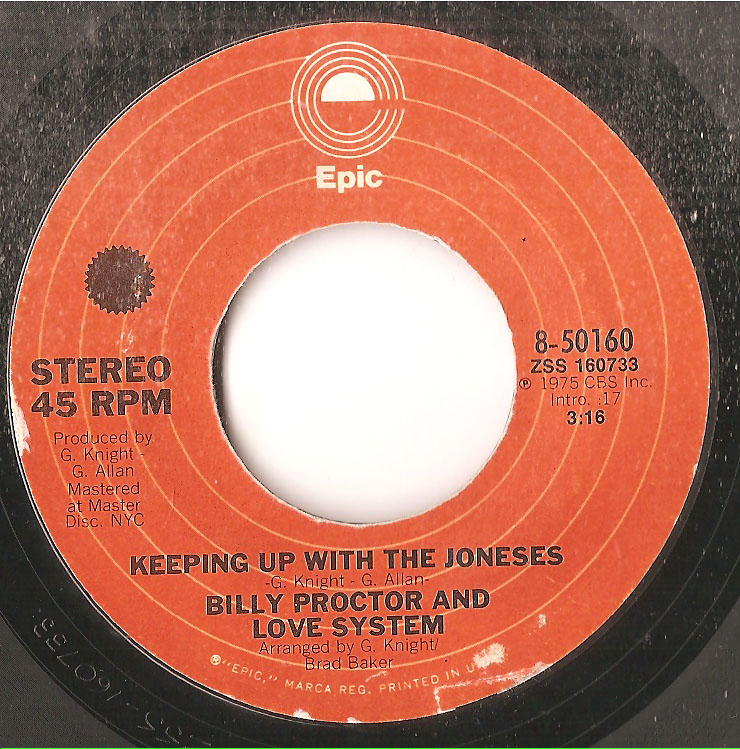 BILLY PROCTOR & LOVE SYSTEM, KEEPING UP WITH THE JONSES